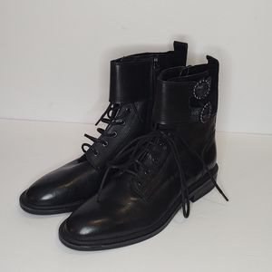 Zara NWOT Low Heeled Leather Combat Ankle Boots Black Buckles